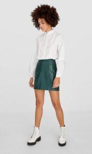 πράσινη δερμάτινη φούστα stradivarius χειμώνα