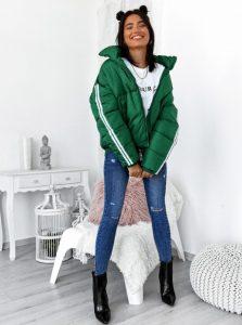 πράσινο κοντό μπουφάν ρίγα