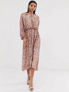 rosegold μίντι φόρεμα
