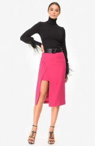 ροζ ασύμμετρη φούστα