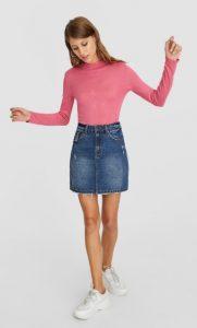 ροζ κολλητό πλεκτό μπλουζάκι
