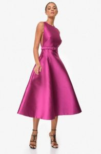 ροζ μοβ midi φόρεμα zini χειμώνα