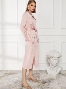 ροζ μίντι φόρεμα με ζώνη ρούχα για όλες τις ώρες