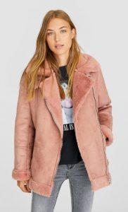 ροζ μπουφάν γούνα stradivarus χειμώνα