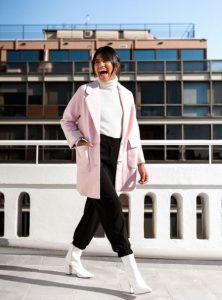 ροζ παλτό με πέτο γυναικεία πανωφόρια χειμώνα
