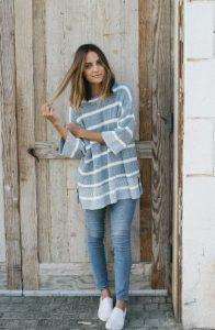 skinny jean παντελόνι φαρδύ πουλόβερ