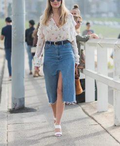 τζιν φούστα σκίσιμο πουκάμισο