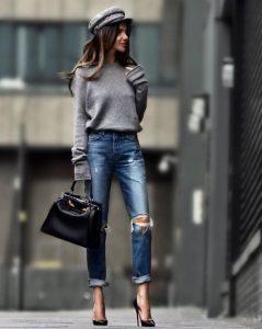 τζιν παντελόνι σκισίματα στα γόνατα πουλόβερ