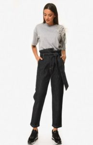 τζιν σκούρο ψηλόμεσο παντελόνι