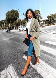 χακί μακρύ παλτό γυναικεία πανωφόρια χειμώνα