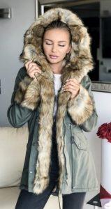 γυναικεία parka επένδυση γούνα