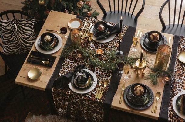 animal print διακόσμηση εορταστικό τραπέζι