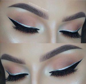 γκλίτερ ασημένια γραμμή eye liner