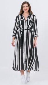 ασπρόμαυρο ριγέ σεμιζιέ φόρεμα