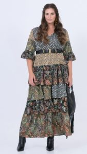 boho φορέματα με βολάν χειμώνας 2020