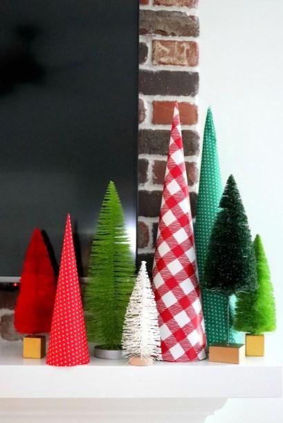 δεντράκια από χαρτί περιτυλίγματος χριστουγεννιάτικες κατασκευές