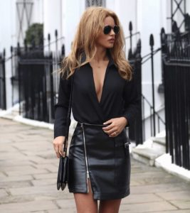 δερμάτινη μαύρη φούστα
