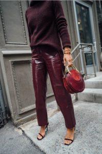 δερμάτινο μπορντό παντελόνι πουλόβερ