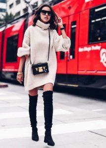 φλατ over the knee μπότα πλεκτό πουλόβερ χειμωνιάτικα παπούτσια