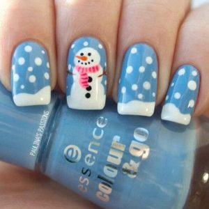 γαλάζια νύχια χιονάνθρωπος