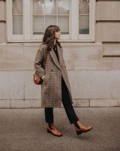 καφέ δερμάτινο μποτάκι καρό παλτό