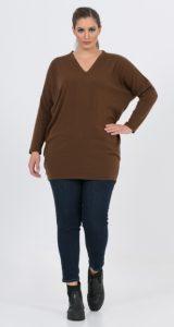 καφέ γυναικεία μπλούζα με μακριά μανίκια