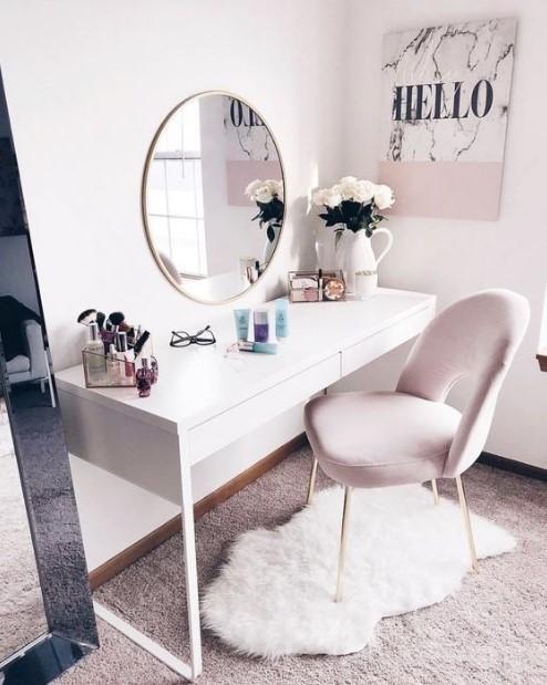 καθρέπτης γραφείο ροζ καρέκλα μπουντουάρ κλασική κρεβατοκάμαρα