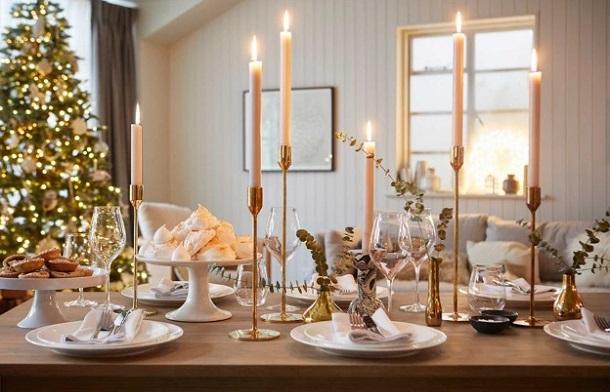 κεριά τραπέζι Χριστούγεννα Πρωτοχρονιά