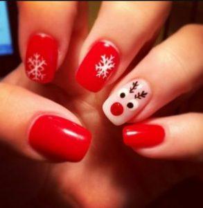 κόκκινα νύχια νιφάδες χιονιού τάρανδος