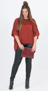 κόκκινη σατέν μπλούζα mat