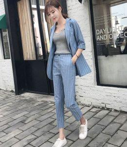 ριγέ κοστούμι γαλάζιο