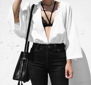 λευκό πουκάμισο δαντέλα μαύρη