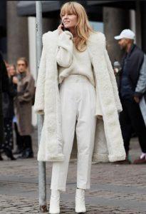 σύνολο λευκό με γούνα