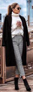 μάλλινο άσπρο ζιβάγκο καρό παντελόνι μαύρο παλτό