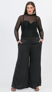 μαύρη διάφανη μπλούζα με τούλι