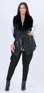 μαύρο γυναικείο δερμάτινο πανωφόρι