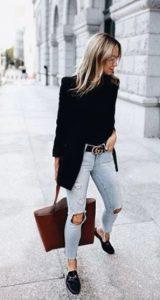 μαύρο ζιβάγκο jean μαύρο σακάκι loafers