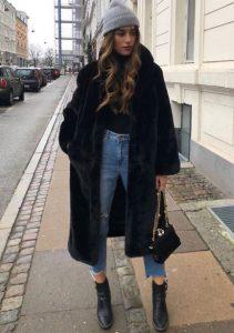 μαύρη μακριά γούνα trends Χειμώνα
