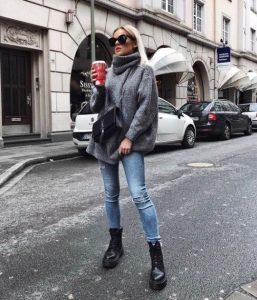 μαύρο αρβυλάκι γκρι παλτό χειμωνιάτικα παπούτσια