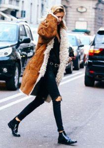 μαύρο φλατ μποτάκι καφέ παλτό χειμωνιάτικα παπούτσια