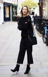 μαύρο μποτάκι μαύρη ζιπ κιλότ παντελόνι γραφείου μποτάκι