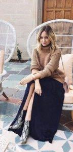 μακριά φούστα χειμερινό ντύσιμο μπότες