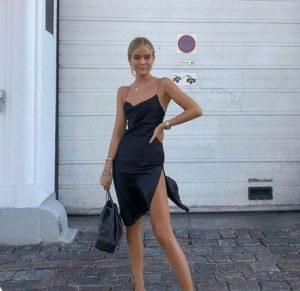 μαύρο ασύμμετρο φόρεμα σατέν