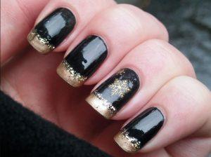 μαύρο χρυσό εορταστικό μανικιούρ