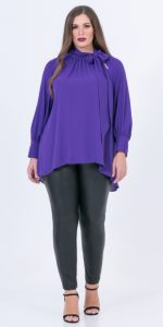 μοβ γυναικεία μπλούζα με δέσιμο στο λαιμό