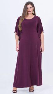 μοβ maxi plus size φόρεμα