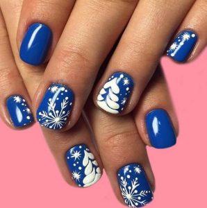 μπλε νύχια άσπρα σχέδια δέντρο αστέρια