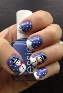 μπλε νύχια πουά χιονάνθρωπος