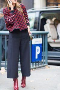 μπορντό μποτάκι μαύρη ζιπ κιλότ παντελόνι γραφείου μποτάκι