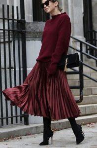 μπορντό πουλόβερ μπορντό φούστα